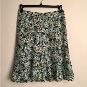 Anthropology Odille silk floral skirt EUC 4